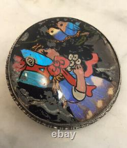 Antique Sterling Silver Girl Birds Reverse Painted Pendant Pin Brooch English