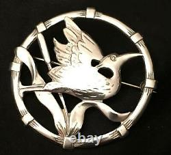 Antique Stork Brooch Sterling Silver Bird Birks Pin Baby Mother Pregnant Vtg