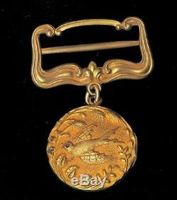 Antique Victorian 14k Yellow Gold Mourning Locket Brooch Bird Dove Sparrow