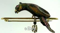 Antique Victorian 18K GoldEnameled Parrot BirdRubies+Diamonds+PearlBrooch Pin