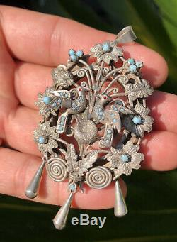Antique Victorian. 800 Silver Turquoise Love Bird Nest Brooch Pin Pendant