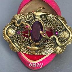 Antique Victorian Art Nouveau Gilt Brass Glass Snake Bird Sash Pin Brooch