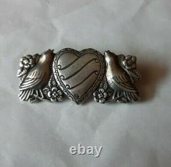Antique Victorian Beautiful Sterling Silver Floral Bird Heart Brooch Pin