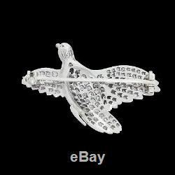Antique Victorian Platinum Pave Diamond Enamel Pheasant Bird Brooch Pin 14.60G