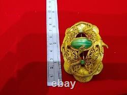 Antique Victorian Snakes Birds Brass Brooch