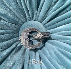 Antique Victorian Sterling Bird Moon Pin Brooch