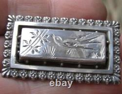 Antique Victorian Sterling Silver Shallow bird Etched Pin Brooch