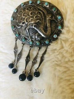 Antique Victorian Turquoise Bird Brooch 850 Silver Signed Ostrich