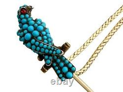 Antique Victorian Turquoise Ruby and Diamond 18Carat Yellow Gold'Falcon' Brooch