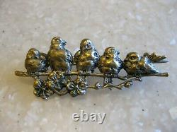 Antique Victorian Wonderfully Detailed Birds on a Branch Pin Brooch / C Clasp