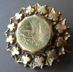 Antique Victorian gold plate bird flower locket back brooch c pin -C864