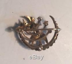Antique Vintage 14K Yellow Gold Seed Pearl Brooch Pin With Birds Ruby & Diamond