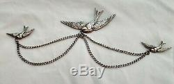Antique Vintage 3 BIRDS Art Deco Style Sterling Silver Jewelry Truart Pin Brooch