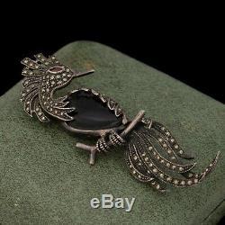 Antique Vintage Art Deco 925 Sterling Silver Onyx Citrine Bird Pin Brooch 12.4g