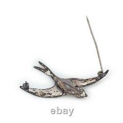 Antique Vintage Art Deco Sterling Silver Cast Figural Sparrow Bird Pin Brooch