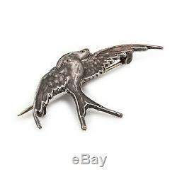 Antique Vintage Art Nouveau 925 Sterling Silver Figural Sparrow Bird Pin Brooch