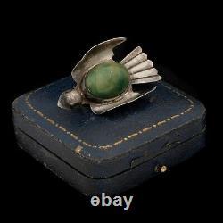 Antique Vintage Deco 925 Sterling Silver Mexican TAXCO Jade Bird Pin Brooch 9.1g