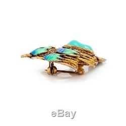 Antique Vintage Deco Gold Wash Chinese Turquoise Enamel Bird of Paradise Brooch