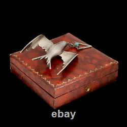 Antique Vintage Deco Sterling Silver Mexican TAXCO Bird Pendant Pin Brooch 15.1g