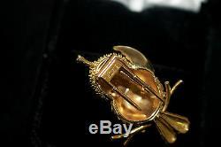 Antique Vintage Estate 1960s 18K Civanyan Paris Bird Brooch Pin Tufted Titmouse