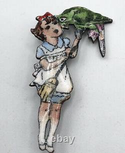 Antique Vintage Estate Czechoslovakia Girl With Parrot Bird Enamel Pin Brooch