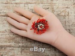 Antique Vintage Georgian Brass Branch Button Salmon Coral Birds Nest Pin Brooch