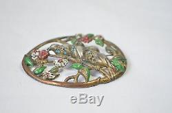 Antique Vintage Red Green Enamel Rhinestone Birds Tree Twig Brass Brooch Pendant