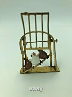 Antique Vintage Sterling Silver & Glass Birds Cage Brooch Pin Marked Gift