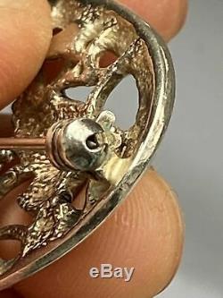 Antique Vintage Sterling Silver Victorian Edwardian Dove Love Birds Brooch Pin