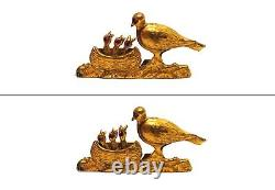 Antique Vtg French Signed Novelty Brooch Mechanical Feeding Baby Birds Pigeon