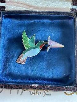 Antique brooch Bird w Flower Victorian Style Hummingbird Silver Enamel Rare Pin