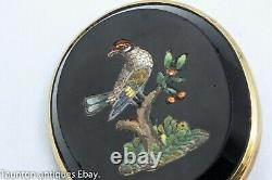 Antique micro mosaic bird in tree pin brooch 15ct solid gold mount 19th century