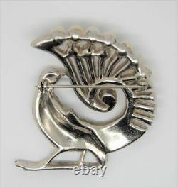 Art Deco Bird Peacock Pheasant Pot Metal Vintage Figural Pin Brooch 1930s