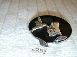 Art Nouveau Onyx 14K Gold Sterling Silver Humming Bird Floral Pin Brooch Antique