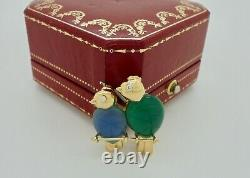 Authentic Vintage Cartier Diamond Chalcedony Bird Brooch in 18k Yellow Gold RARE