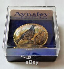 Aynsley Brooch Pheasant Birds Porcelain Hand Painted Vintage Boxed