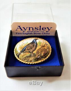 Aynsley Cameo Brooch GP Porcelain Hand Painted Pheasant Birds Vintage Boxed