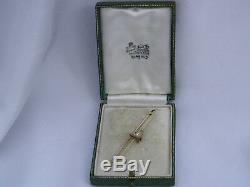 BEAUTIFUL VINTAGE 15ct GOLD & PLATINUM QUAIL GAME BIRD BAR BROOCH