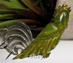 Bakelite 1930s Carved Bird of Paradise Marbled Mississippi Mud Green Pin Brooch