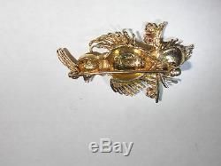 Beautiful Vintage 14K Gold Bird enamel with ruby stones brooch pin 4,8gr