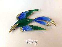Beautiful Vintage CROWN TRIFARI Enamel & Rhinestone Bird In Flight Brooch-Rare