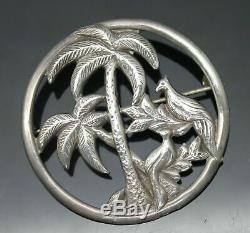 Beautiful Vintage Open Design Textured Palms Birds Sterling Silver Brooch / Pin