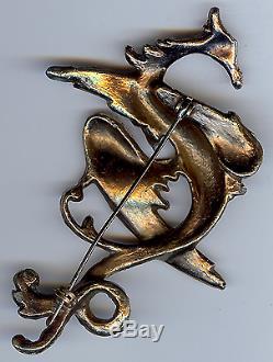 Big Fabulous 1940's Vintage Rhinestone Phoenix Fantasy Bird Pin Brooch