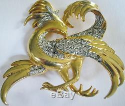 Big Rare Vintage Signed Reinad Griphon Bird Of Paradise Pin Brooch Book Cover Pc