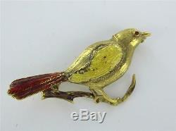 Bird Pin Brooch 18k Yellow Gold Vintage Enamel Animal Red Tail Collector Antique