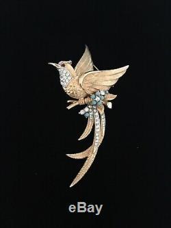 Boucher Large Vintage 1950s Rhinestone & Faux Turquoise Bird Brooch