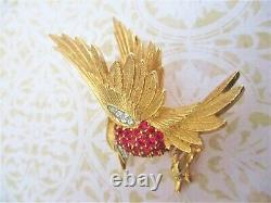 Boucher Vintage Signed Cardinal Bird Brooch