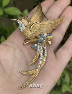 Boucher brooch Large Bird Vintage 1950s Paradise Bird On Floral Branch Pin Rare