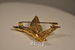 Broche Vintage Oiseau Or Massif 18k Signe Solid Gold Brooch Bird