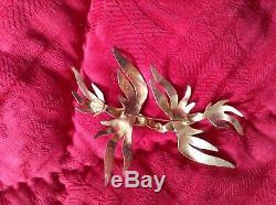 Brooch Broche two birds in love Herve Van Der Straeten vintage 1990 Jewelry